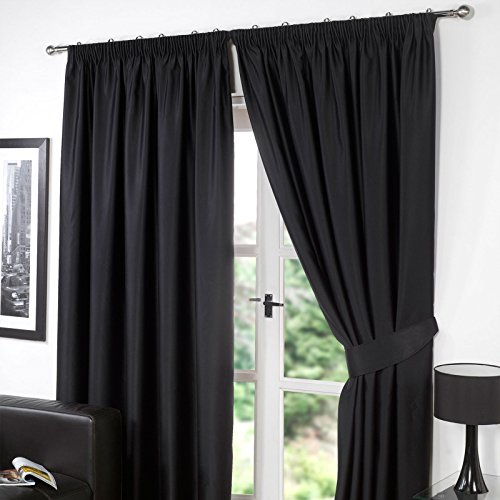 Dreamscene luxe volledig gevoerde paar thermische verduistering potlood plooi gordijnen met Tiebacks, Polyester, zwart, 46 x 72-inch