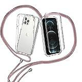 ZHXMALL Funda con Cuerda para iPhone 12/12 Pro 6.1'',360 Grados Ajustable Collar Transparente Carcasa,Anti-Choque PC Duro Delantera TPU Bumper Trasera Cadena Cordón Case Protectora Cover,Oro Rosa