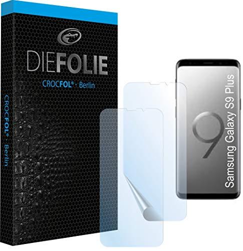 Crocfol Schutzfolie vom Testsieger [2 St.] kompatibel mit Samsung Galaxy S9 Plus - selbstheilende Premium 5D Langzeit-Panzerfolie inkl. Veredelung - für vorne, hüllenfreundlich
