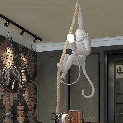 Style nordique Suspension LED avec singe en acrylique de 72 cm de haut et corde en chanvre Convient pour ampoule E27 Lampe pour restaurant, chambre ou studio