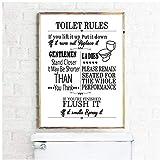 DLFALG Reglas de baño Arte de la pared Pintura en lienzo Moderno Divertido Reglas de baño Cartel...
