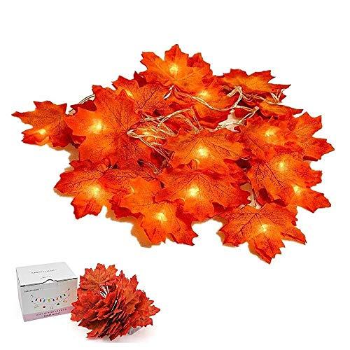 Suker Thanksgiving dekorationer upplyst bladgirlang, höst lönn ljusslinga 4 m 40 LED, höst girlanger för höst, halloween, jul, picknick, utomhus dekor