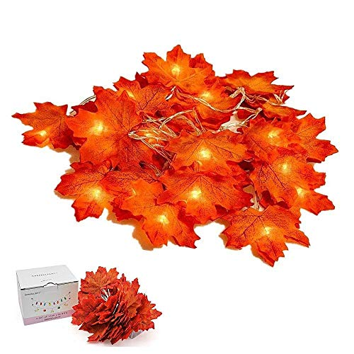 Suker Thanksgiving Decorations Lighted Leaf Garland, Autumn Maple String Lights 13ft 40 LED, Fall Garlands for Autumn, Halloween, Christmas, Picnic, Outdoor Decor