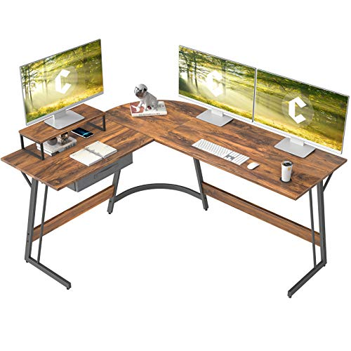 CubiCubi Modern L-Shaped Desk Computer Corner Desk, 59.1' Home Office Writing Study Workstation with Small Table and Drawers, Space Saving, Easy to Assemble, Dark Rustic
