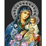 ZXDA Kits de Pintura de Marco de Bricolaje por números La Figura de la Virgen María Imagen por número Pintura acrílica Pintada a Mano decoración del hogar A4 60x75cm