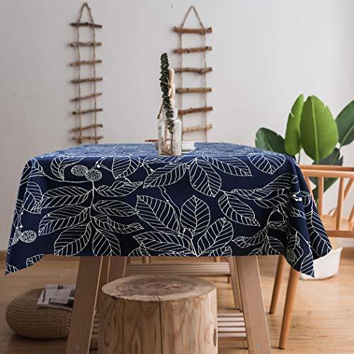 Ihoming Tischdecke Schwere Vintage Sackleinen Baumwolle Tischdecken für Rechteck Tische, Marineblau Bedruckte Blatt Tischdecken waschbar für Küche Dinning Party 52 x 70in