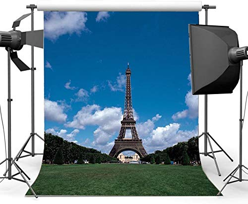 HD 7X10FT Eiffel Tower Backdrop Square Trees Green Grass Meadow Blue Sky White Cloud Nature Romantic Wallpaper Vinyl Photography Background Lover Wedding Spring Journey Photo Studio Props YX90