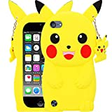 for iPod Touch 5 6 7 Case Pikachu for Girls Teens Boys Kids (4.0 inches), BEFOSSON 3D Cartoon Cute Kawaii Yellow Pikachu Soft Silicone Rubber Phone Cover Case for iPod Touch 5th 6th 7th Generation