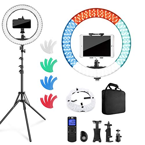 """Pixel Ring Light with Stand and Remote Controller,19"""" Light Ring with Softbox Diffuser and iPad Holder, 60W 3000-5800K CRI≥97 Halo Light Ring with 4 Color Filters forYouTube,TikTok Video Shooting"""