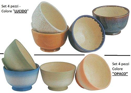 Vaso in Ceramica Ciotolina (SET 4 PEZZI) / Colore 'LUCIDO' oppure 'OPACO' (Specificare nel messaggio la scelta!) - (Cm.15 diam. x 9,5 h.)