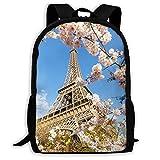 XCNGG Mochila de viaje para acampar con estampado de flores de Torre Eiffel, mochila escolar, mochilas multiusos para adultos y niños