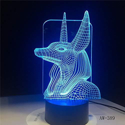 7 Farben ändern Ägypten 3D Glühbirne Licht Illusion Farbwechsel Tischlampe mit schwarzer Touch Base Dekoration Nachtlicht