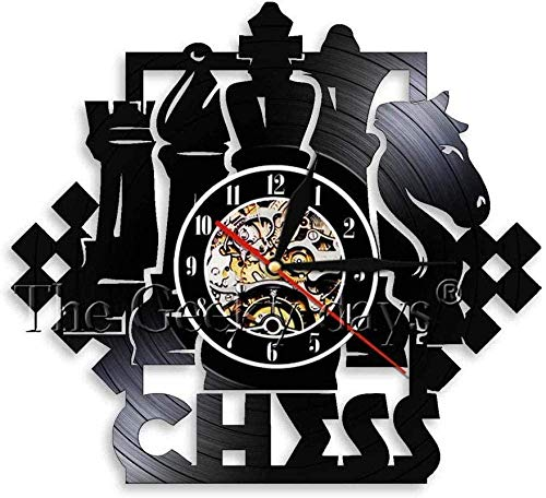 Tablero de ajedrez Hecho a Mano D Reloj de Pared de Cuarzo silencioso novedoso para decoración de Sala de Arte