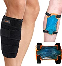 BodyMoves Calf Brace plus hot and cold gel pack for Torn Muscle Shin Brace Strain Wrap Support Leg Brace for Shin Splints Lower Leg Calf Compression Sleeve for Calf Strain Injury Tear Runners Remedy