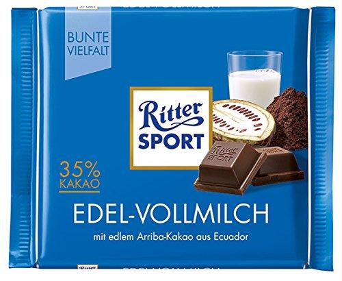 12x Ritter Sport - Bunte Vielfalt Edel-Vollmilch, 35% Kakao - 100g