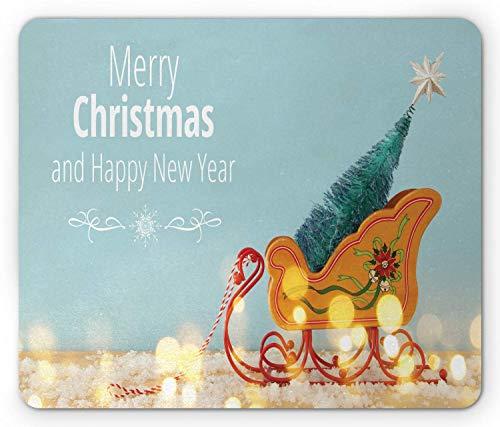 Nieuwjaar muismat, minimale items samenstelling van kerstbomen in een oude houten slee, rechthoek anti-slip rubberen muismat