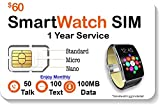 SpeedTalk Mobile Smart Watch SIM Card - Compatible with 2G 3G 4G LTE GSM Smartwatches and Wearables - 1 Year Service