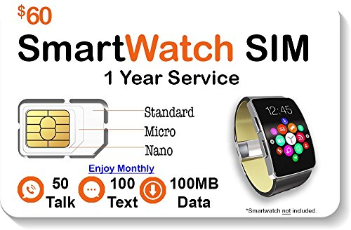 Smart Watch SIM Card - Compatible with 2G 3G 4G LTE GSM Smartwatches and Wearables - 1 Year Service