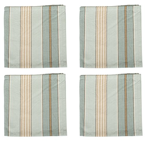 The Country House Collection Sweetwater Aqua Stripe 18 x 18 All Cotton Napkin Pack of 4