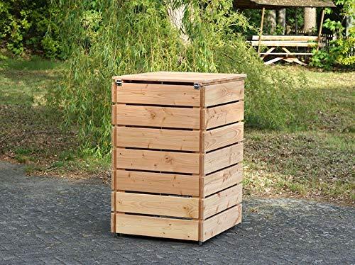 1er Mülltonnenbox 240 L Holz, Deckend Geölt Anthrazit Grau - 4