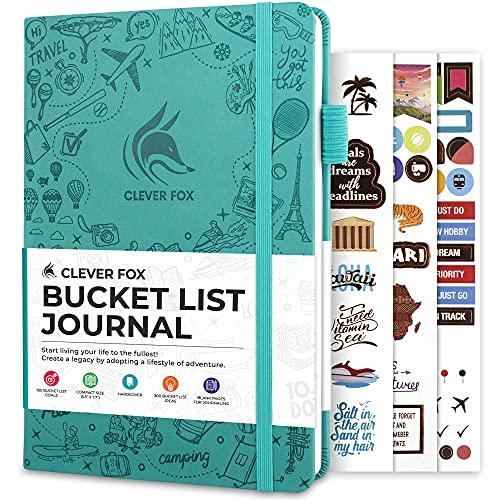 Clever Fox Bucket List Journal – Inspiring Bucket List & Travel Book for Memories & Adventures – Motivational Bucket List Notebook for Personal Use & Couples – A5, 5.8x8.3″, Hardcover (Turquoise)