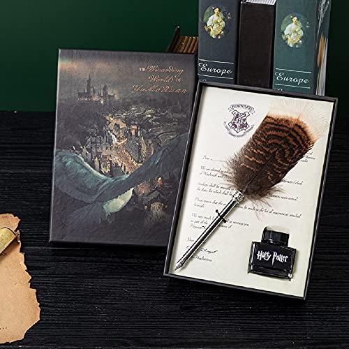 Pluma pluma caligrafía bolígrafo con tinta juego de bolígrafo de punta de metal bolígrafo de plumas de búho para ventilador de Harry Potter, color Harry Potter Quill Pen