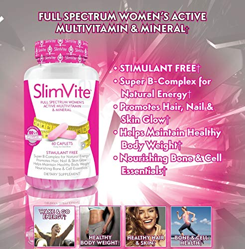 SLIMVITE – Women's Multivitamin for Weight Loss & Beauty, Multi Vitamin Metabolism Booster with Resveratrol & Green Coffee Bean Extract for Hair Skin & Nails and Appetite Suppressant, 30 Day Supply