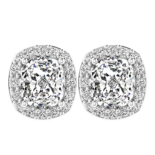 April Piedra de nacimiento — Solitario Corte Cojín Diamante Halo Pendientes de 1,16 CT, pendientes de diamante HI-SI, Pendientes de oro simples, 18K Oro amarillo, Par