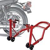 DDHVVOH Caballete Elevador Universal Tipo Soporte Delantero de Moto PortáTil Y MóVil con Ruedas para Reparar Y Aparcar Color Rojo Material Acero