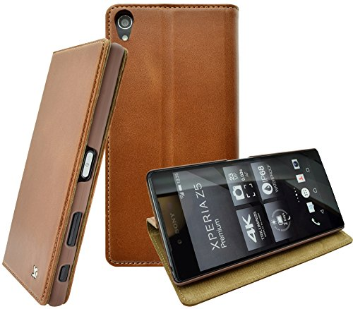 Sony Xperia Z5 Premium - Suncase Handmade Book-Style (Slim-Fit) aus echtem Leder Tasche Schutzhülle Wallet Hülle Hülle cognac