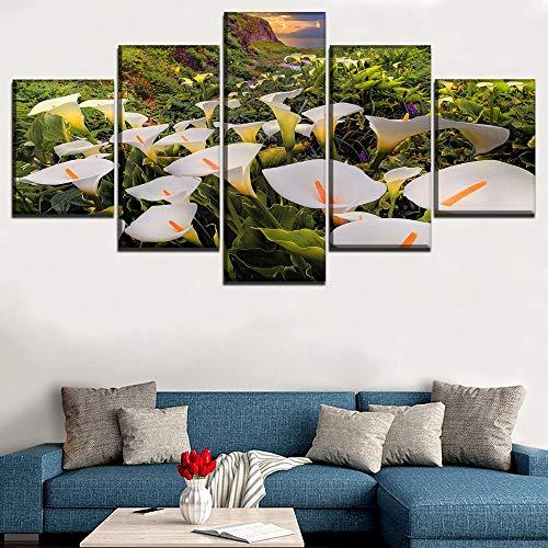 HOMOPK 5 Leinwandbild Bilder Calla-Lilien-Blume 5 Teilig Wandbild hintergrundwand malerei tapete öl Druck Poster küche dekor Plakat Geschenk A,Rahmen.