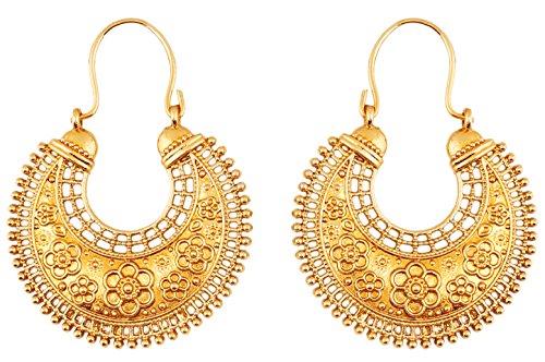 Touchstone Hübsche Fransen und ethnische südindische chandbali Mondbrautdesignerschmuck-Leuchterohrringe des Blumenthemas für Damen Gold