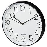 Hama Wanduhr Elegance (analoge Quarz-Uhr ohne Funk, großer Durchmesser 30 cm, Tiefe 4,5 cm, inklusive Batterie, schleichender Sekundenzeiger) schwarz/weiß