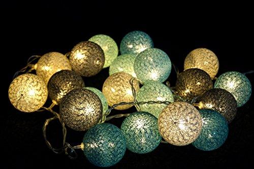 "Stoff Ball LED Lichterkette \""modern colours\"" türkies, grau / Kugel Lichterketten"
