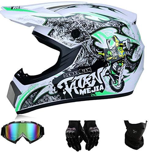 GAODA Kinder Motocross Helm, Enduro MTB Helm Fullface Fahrrad Helm Cross Helm Motorradhelm Für Downhill Bike ATV BMX mit Brille Handschuhen Maske für Sicherheitsschutz. (M)