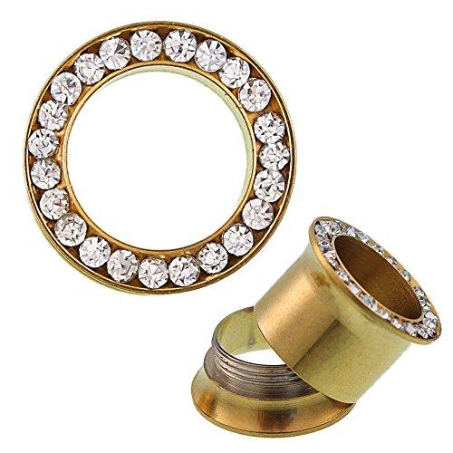 Chic-Net Glitzer Tunnel golden Kristall Inlay Edelstahl Plug Expander Piercing Chirurgenstahl 04 mm