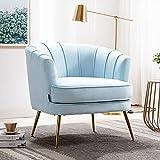 Altrobene Velvet Modern Accent Chair Barrel Room Decor...