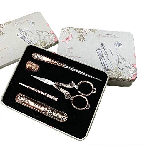 Juego de 5 tijeras vintage para coser dedal bordado, tijeras de costura