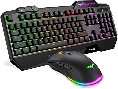 Gaming Keyboard {IT Layout}, HAVIT Rainbow LED Backlit Wired Keyboard and Mouse Combo Set, Black