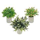 MAGILOT Plantas Artificiales Decorativas - Decoracion hogar - Regalos Originales - Flores Artificiales - Pack 3 Plantas con macetas Decorativas