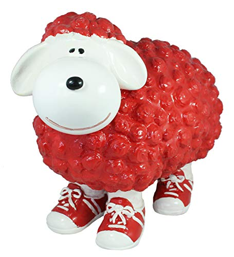 colourliving Gartenfigur Schaf mit Turnschuh Schaf Gartenfigur lustige Dekofiguren 5 (rot-weiß)
