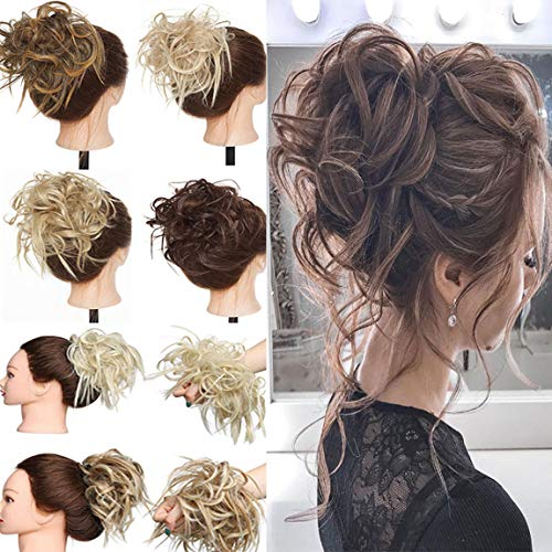 Tousled Updo Hair Pieces Messy Bun Hair Scrunchies Extensions Hair Pieces and Ponytails Hair Extensions for Women Light Brown to Ash Blonde
