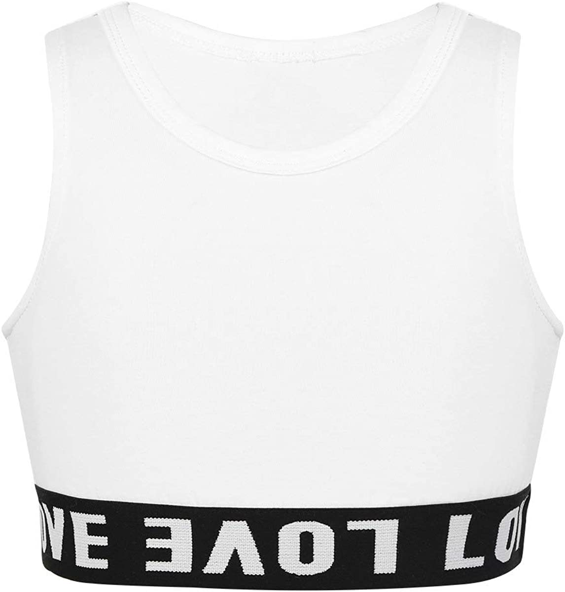 Yeeye Kids Girls' Letter Printed Sports Bra Crop Top Sleeveless Yoga Dance Athletic Tank Top Shirts