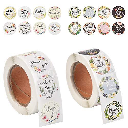 Grazie Etichette Autoadesivo di Kraft 500PCS Etichette Adesive Thank You di Ringraziamento Floreale Carta Kraft, Etichette Lavagna Adesivo Kraft Sigilla Etichette Regalo Baking Sticker Buste Scatole