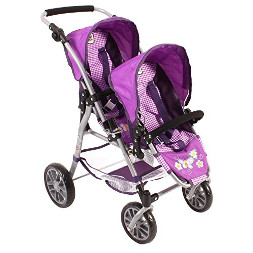 Bayer Chic 2000 691 28 - Tandem-Buggy Twinny für Puppen, Design Checker, 46 cm, Lila