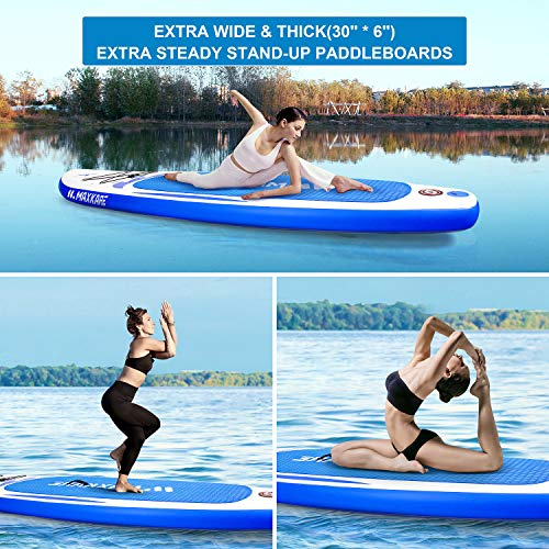"""Product Image 6: MaxKare Stand Up Paddle Board Inflatable SUP W Stand-up Paddle Board Accessories Backpack Paddle Leash Pump Non-Slip Deck ISUP Fishing Yoga Rigid Solid 10'× 30"""" ×6"""" Inches Thick Adult & Youth & Kid"""