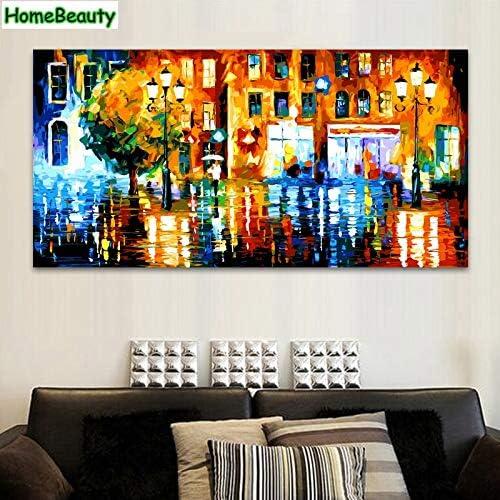 KYKDY 50  100 Größe diy  bild durch zahlen modulare leinwand malerei für wohnzimmer f ung by anzahl stadt nacht DY21, kein rahmen