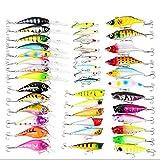 LEAMALLS 40 Pezzi Pesca Richiamo Artificiali Kit di Esche da Pesca Ganci Cucchiaini, Sport e tempo libero Pesce Tackle attrezzature