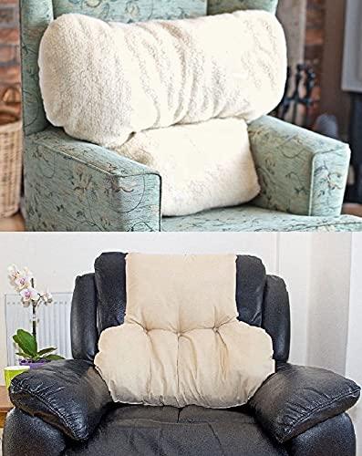 Large Faux Armchair Sheepskin Back Lumbar Help Support Pillow Cushion Fleece