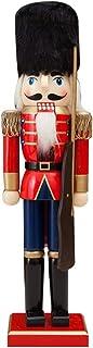 YEKKU Cascanueces de Navidad, 38 cm, cascanueces de madera, cascanueces coleccionables, cascanueces en soporte, estatua de...